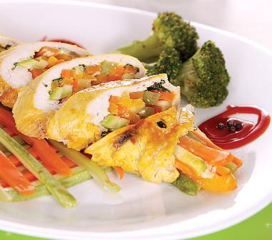 رولت مرغ با سبزیجات