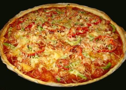 پیتزا ژامبون با فلفل دلمه