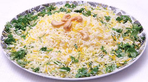 برنج با سس گشنیز و لیمو